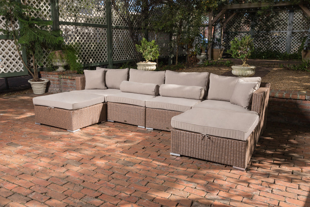 Teagarden Wicker Sectional Set
