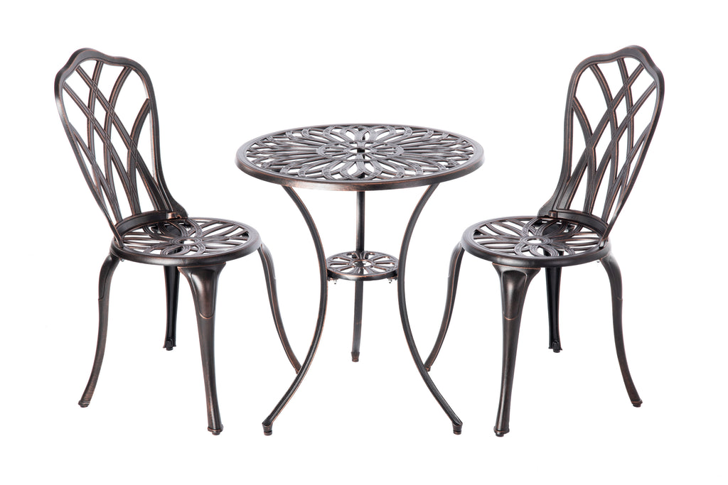 Theon Antique Bronze Cast Aluminum 3pc. Bistro Set