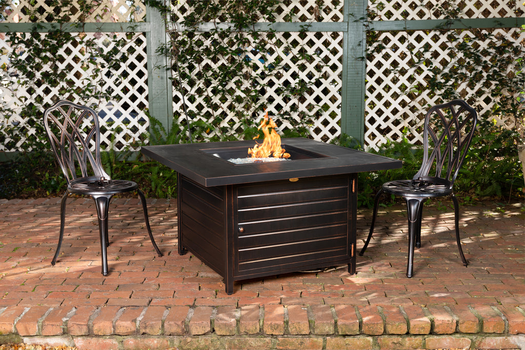 Langhorne Square Aluminum LPG Fire Pit in Antique Bronze