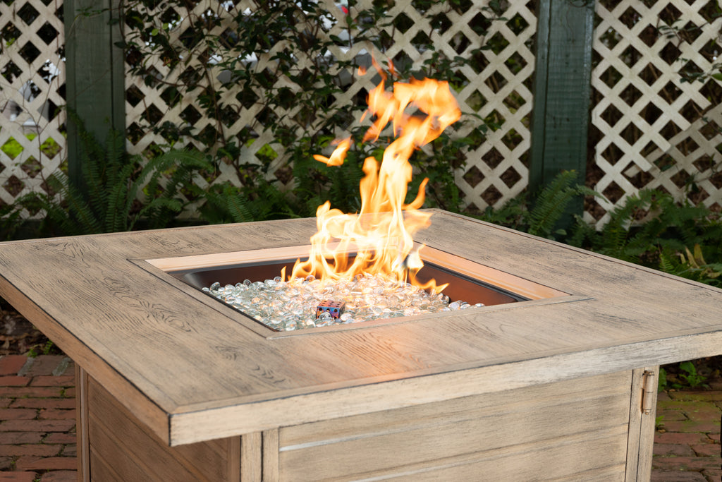 Langhorne Square Aluminum LPG Fire Pit in Driftwood
