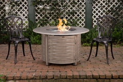 Thatcher Round Aluminum LPG Fire Pit in Barnwood
