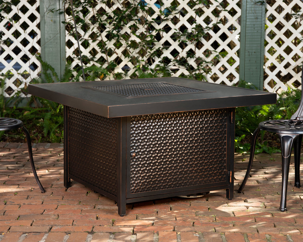 Weyland Square Aluminum LPG Fire Pit in Antique Bronze