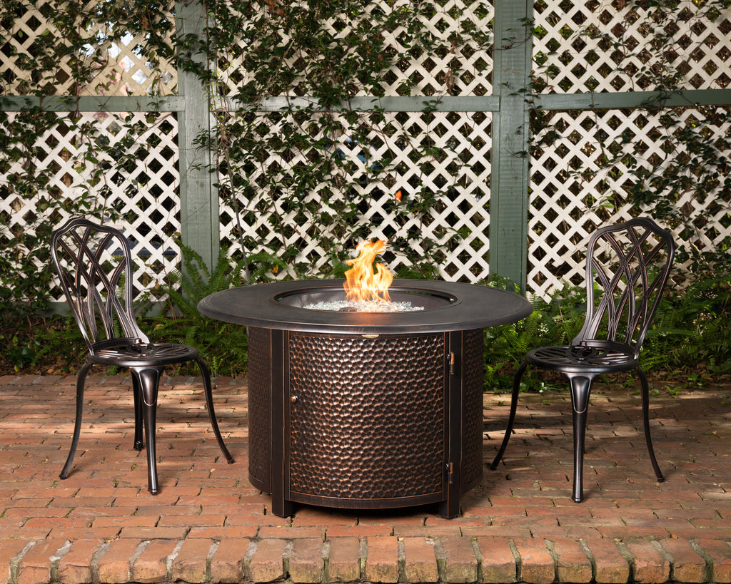 Weyland Round Aluminum LPG Fire Pit in Antique Bronze