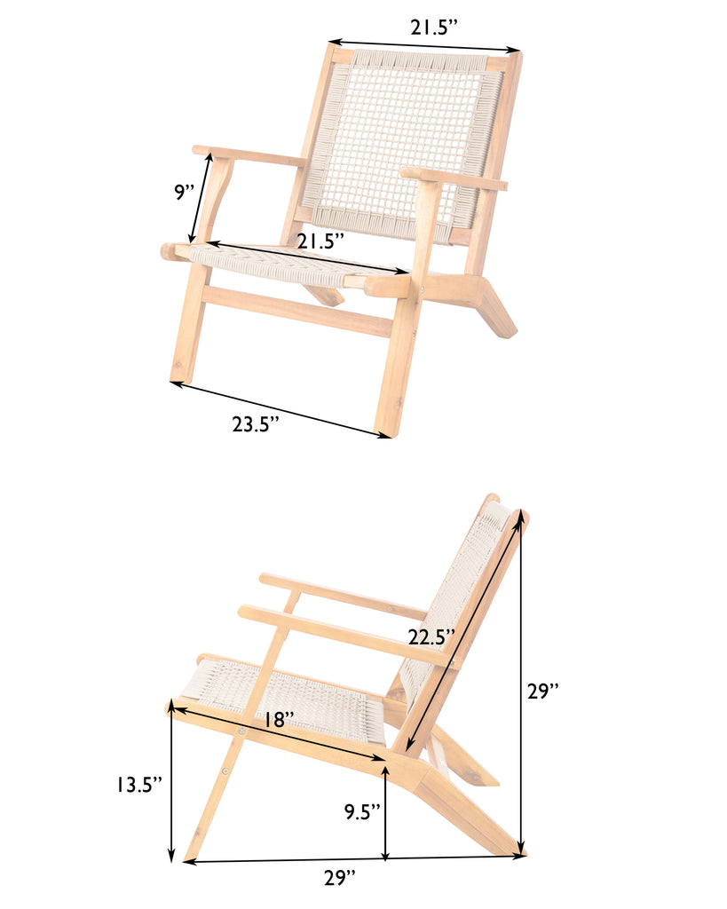 Vega Natural Stain Outdoor Chair in Ecru Cording