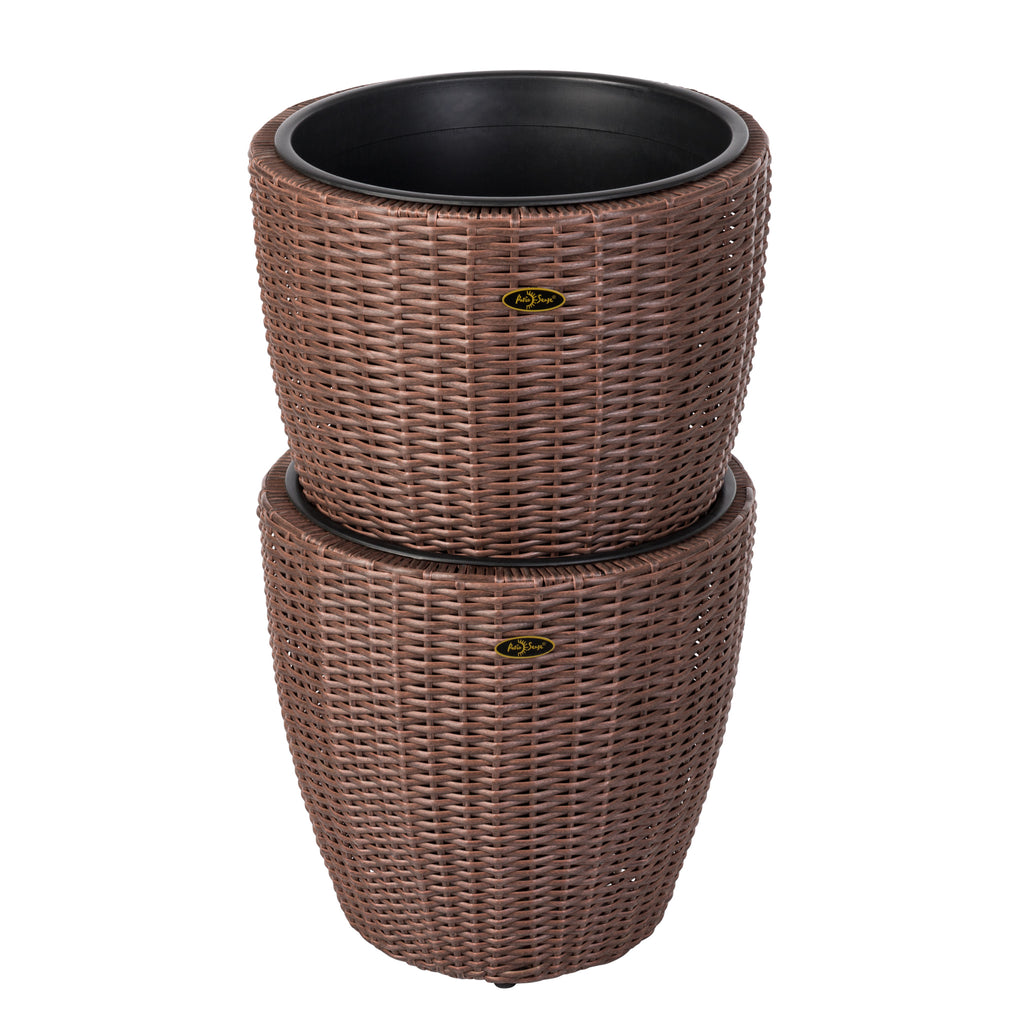Tondo 2-piece Wicker Planter Set
