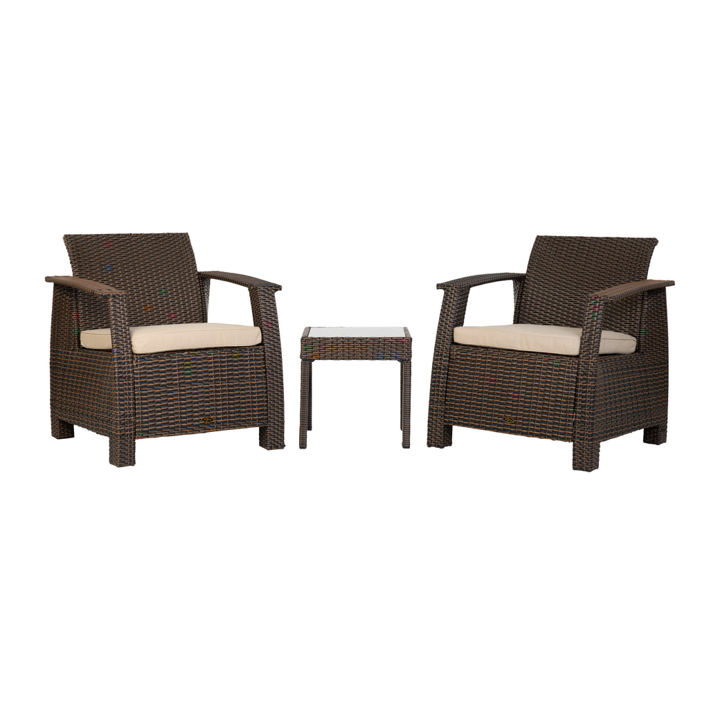 Bondi Conversation Set in Mocha Wicker