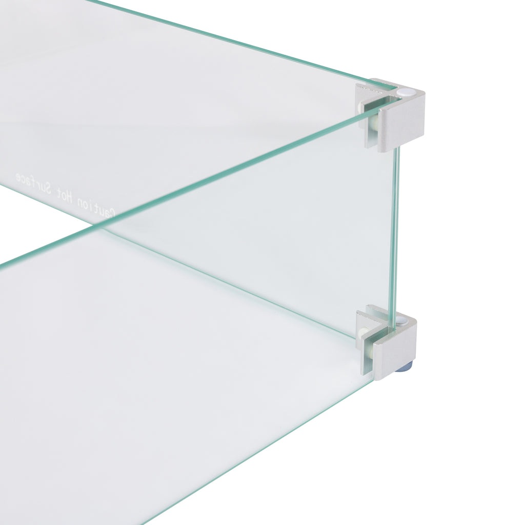 Tempered Glass Wind Guard for Rectangular Gas Fire Pits