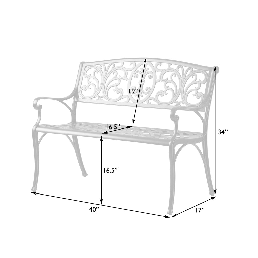 Decatur Cast-Aluminum Patio Bench