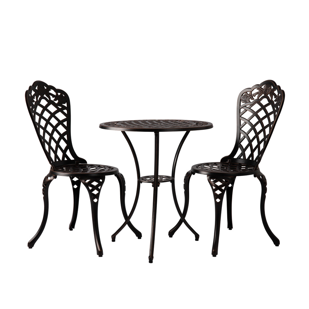 Scarlet Antique Bronze Cast Aluminum 3-pc. Bistro Set