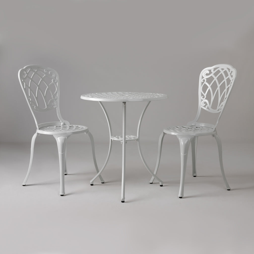 Palisade Aluminum 3-piece Bistro Set in White