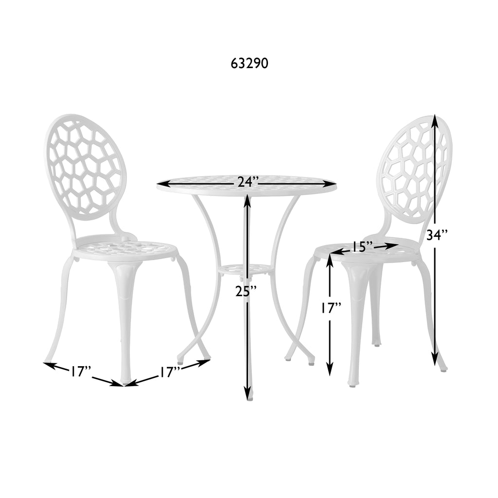 Vashon Aluminum 3-piece Bistro Set in White