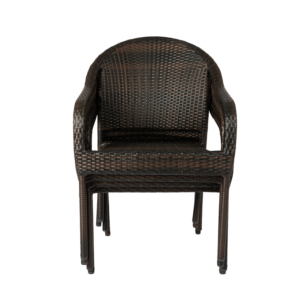Rhodos Café Stacking Chair in Mocha All-weather Wicker - 4pk