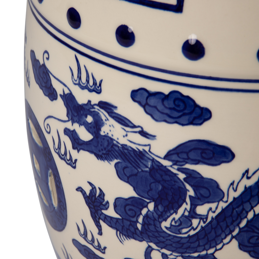 Double-Medallion Dragon-Embellished Ceramic Indoor/Outdoor Garden Stool/Table in Blue & White