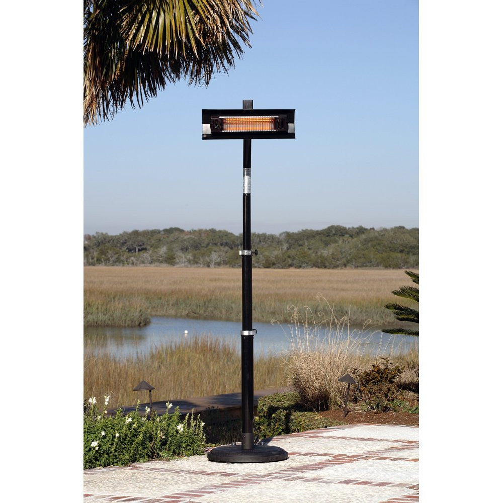 Black Powder Coated Steel Telescoping Offset Pole Mounted Infrared Patio Heater