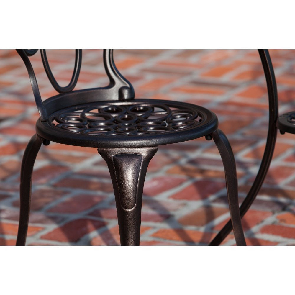 Arria Antique Bronze Cast Aluminum 3pc. Bistro Set