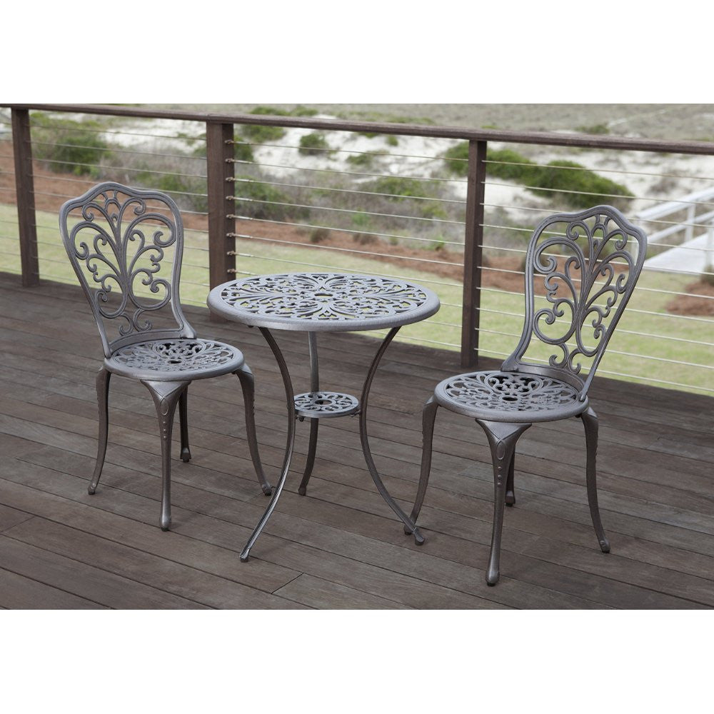 Faustina Antique Bronze Cast Aluminum 3pc Bistro Set