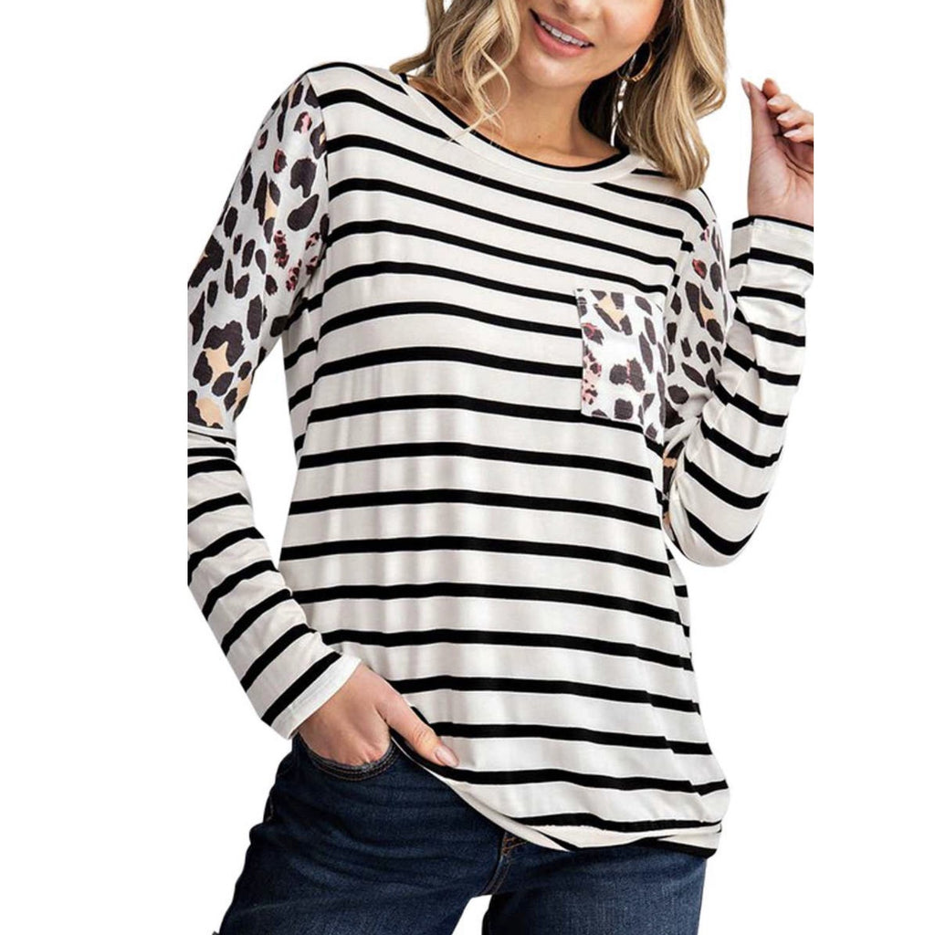 Leopard Contrast Stripe Top