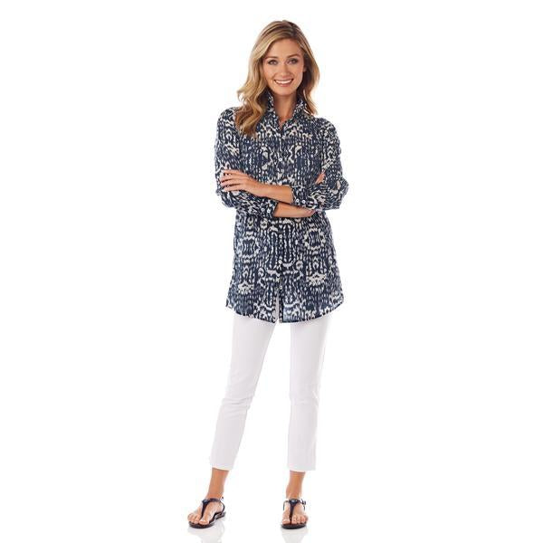 Jude Connally Callie Cotton Voile Tunic in Brushed IKAT Navy