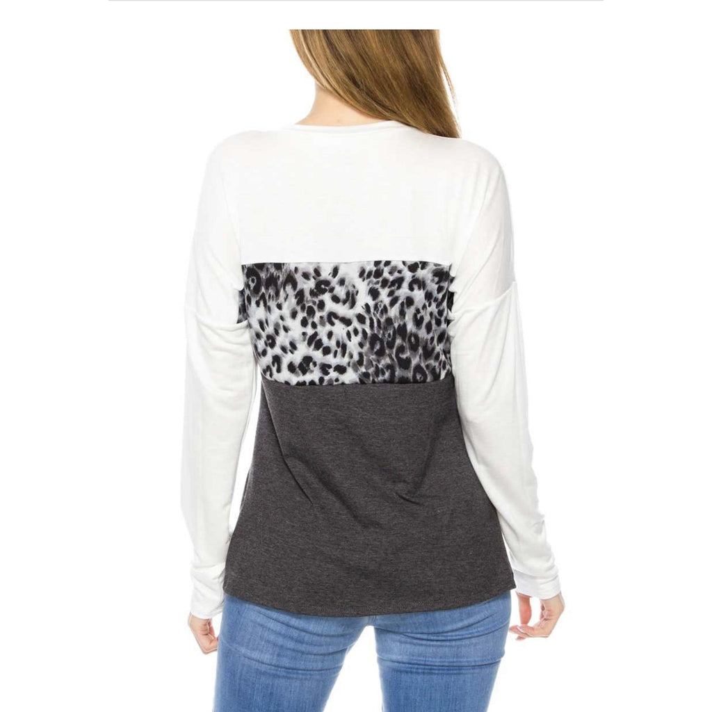Leopard Print Color-Block Top