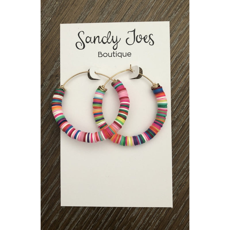 Rainbow Rubber Bead Hoops