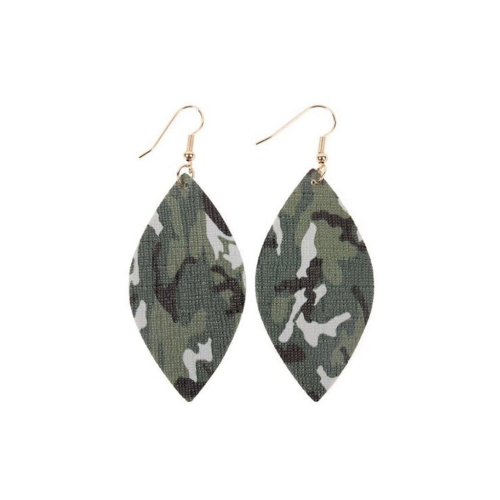 Camo Faux Leather Earrings