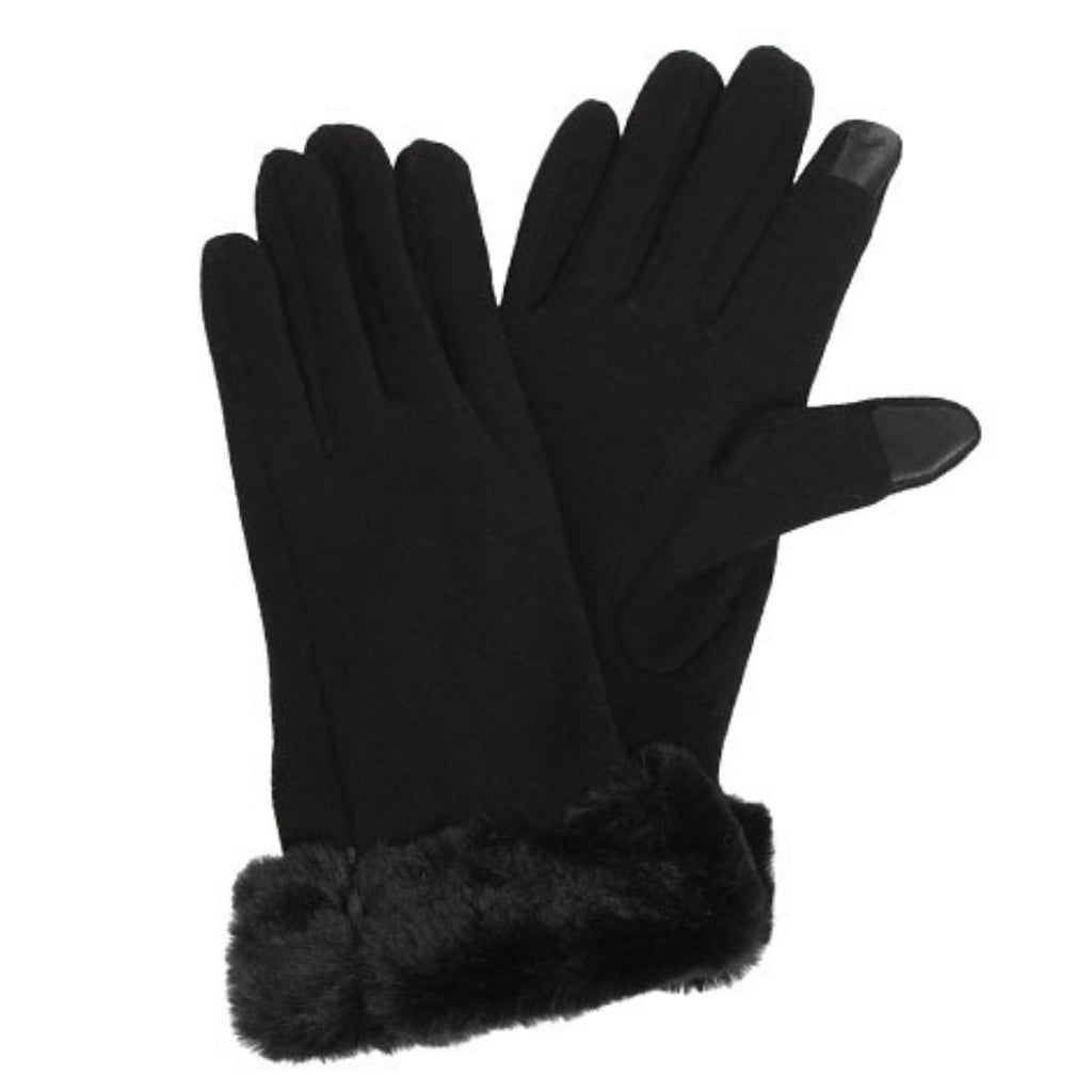 Faux Fur Trim Gloves - Available in 2 Colors