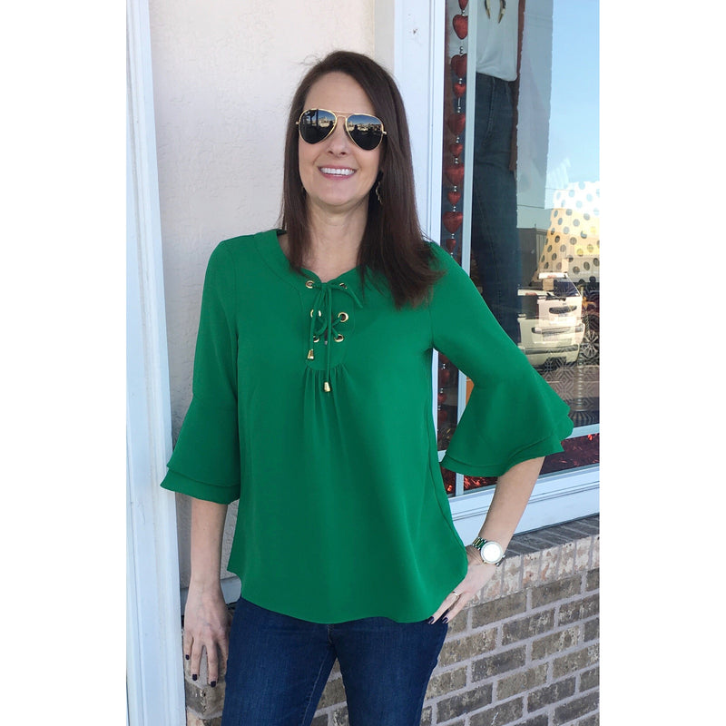 Jade Bell Sleeve Top Green