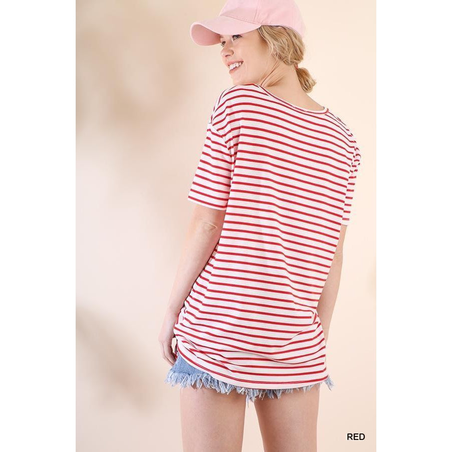 Red Stripe Tie Waist Top