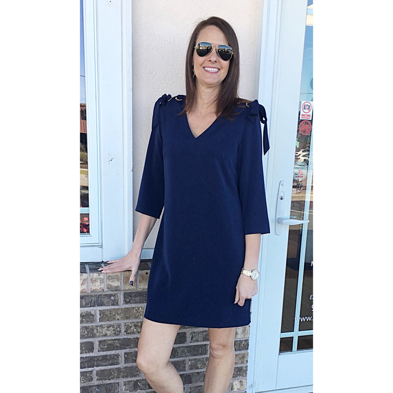 Jade Grommet Tie Dress Navy