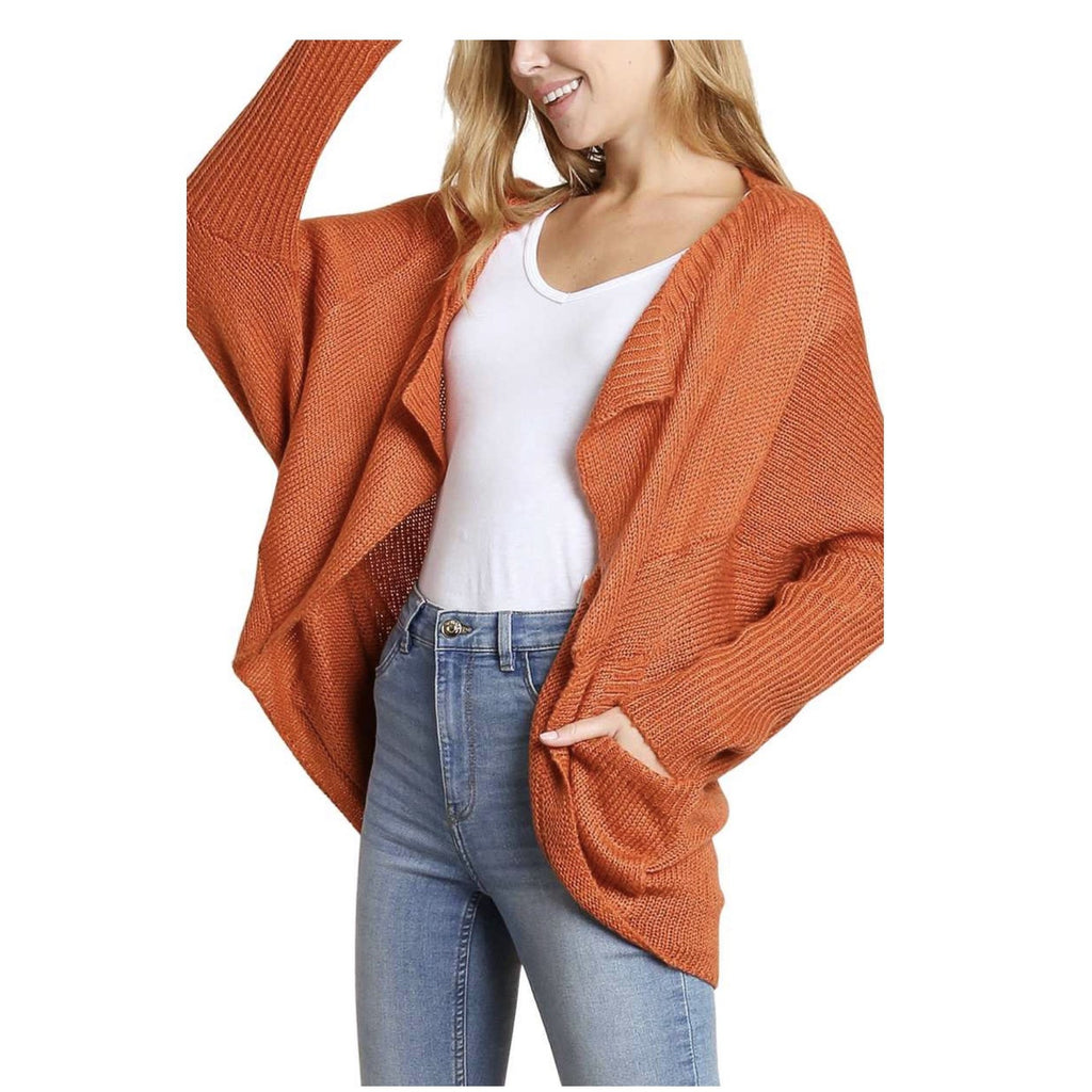 Draped Collar Dolman Sleeve Sweater