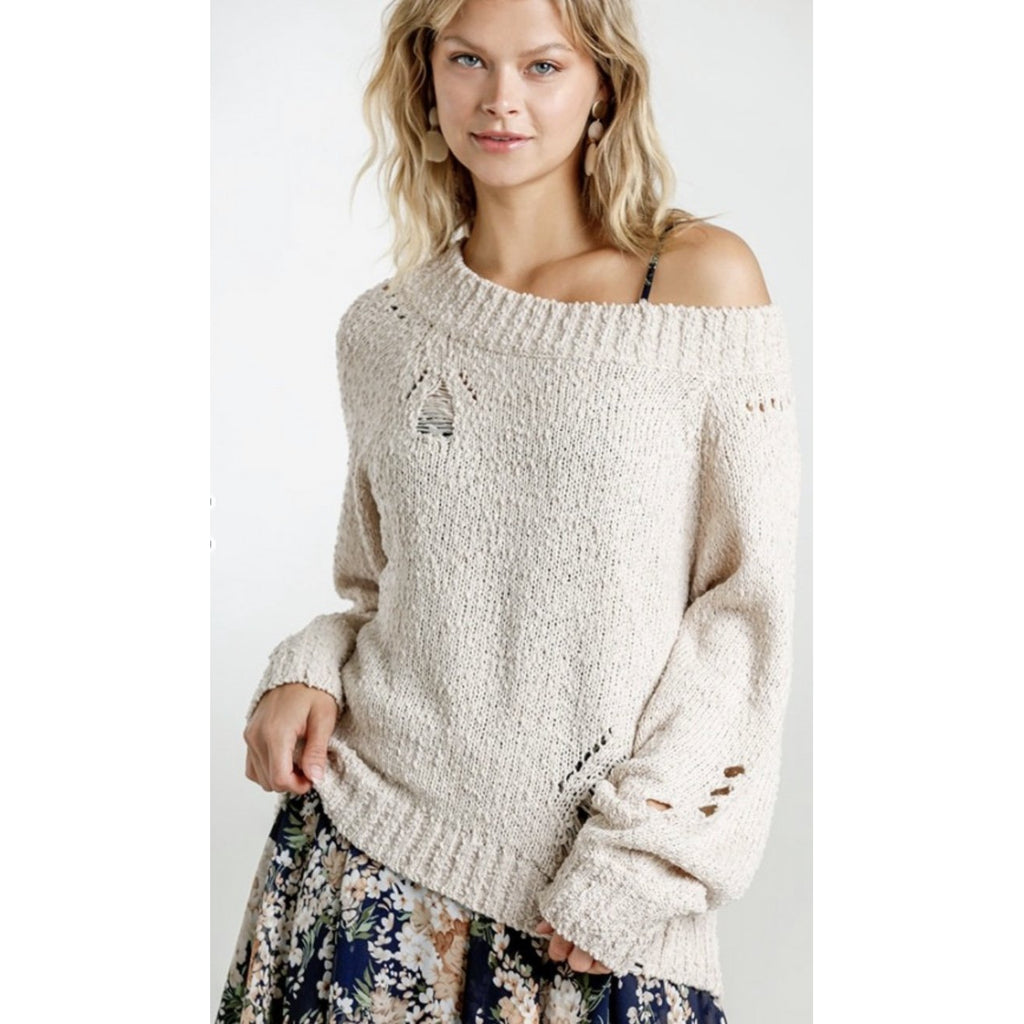 Distressed Round Neck Pullover Sweater