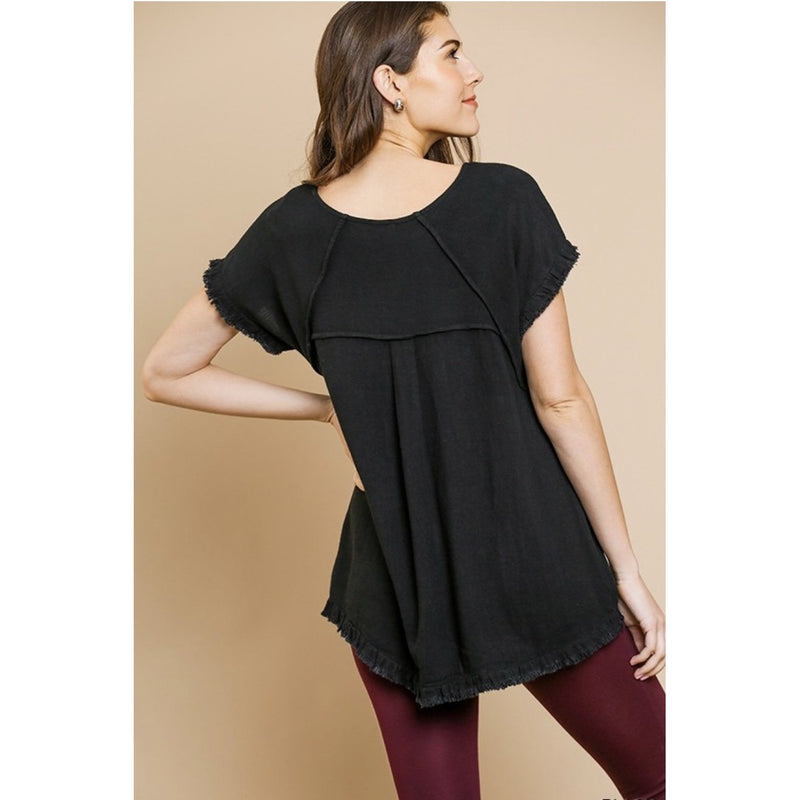 Short Sleeve Pintuck Round Neck Top