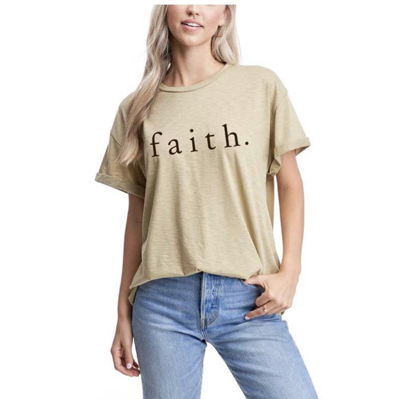 Faith Tee - Light Olive