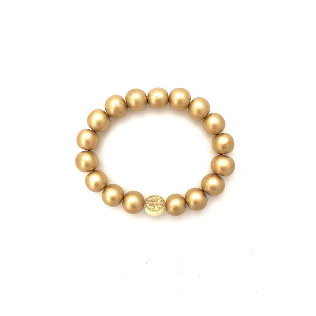 Anchor Beads - Gold Wood Bracelet