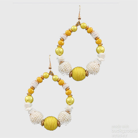 Bead & Pearl Disc Earrings
