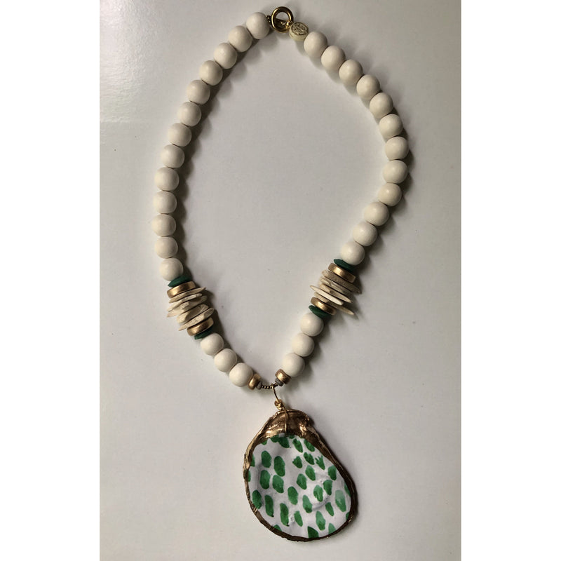 Anchor Beads - Oyster Shell Green/White
