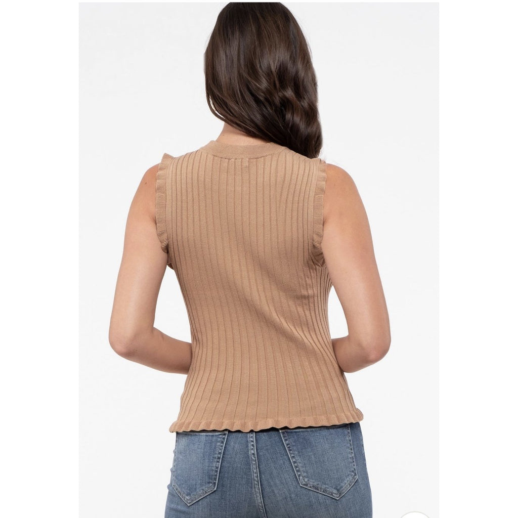 Mock Neck Rib Sweater - Available in 2 Colors