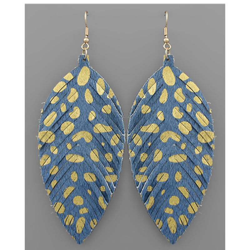 Leather Feather Earring - Available in 2 Colors
