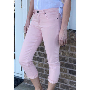 Kut from the Kloth Amy Crop Straight Leg in Pale Blush