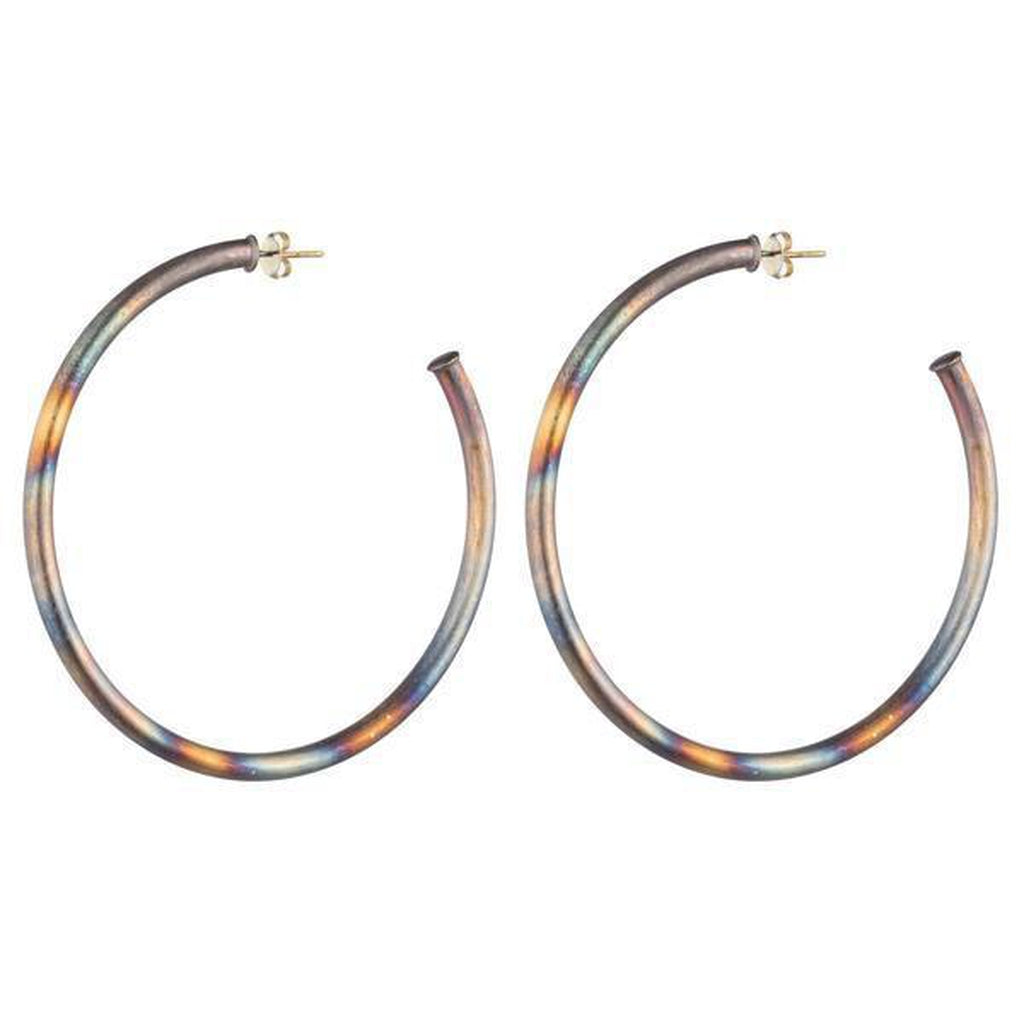 "Shelia Fajl Hoop 2"" Burnished Silver"