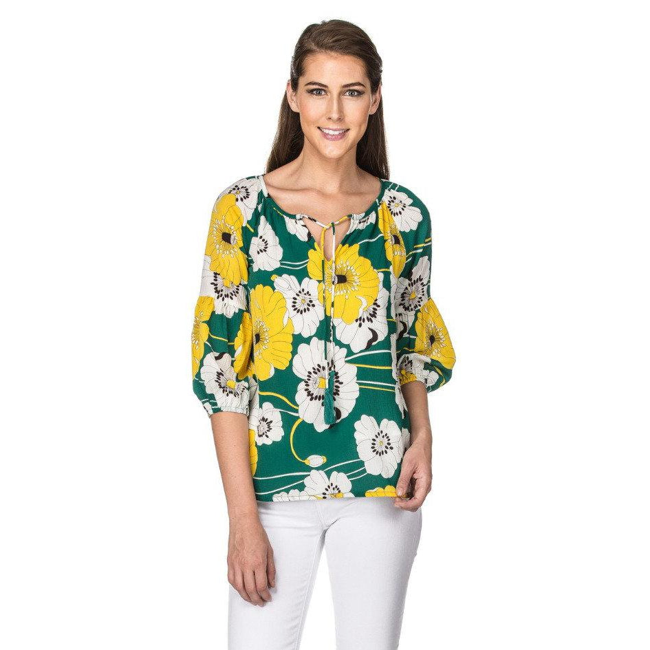 Jade Green Floral Top