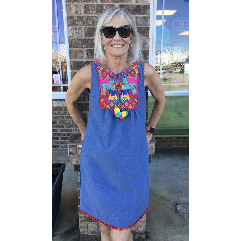 Jade Chambray Embroidered Dress
