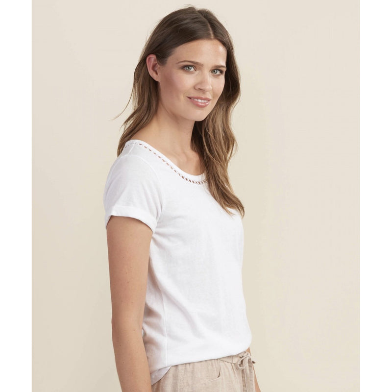 Hatley White Cotton/Linen T-Shirt