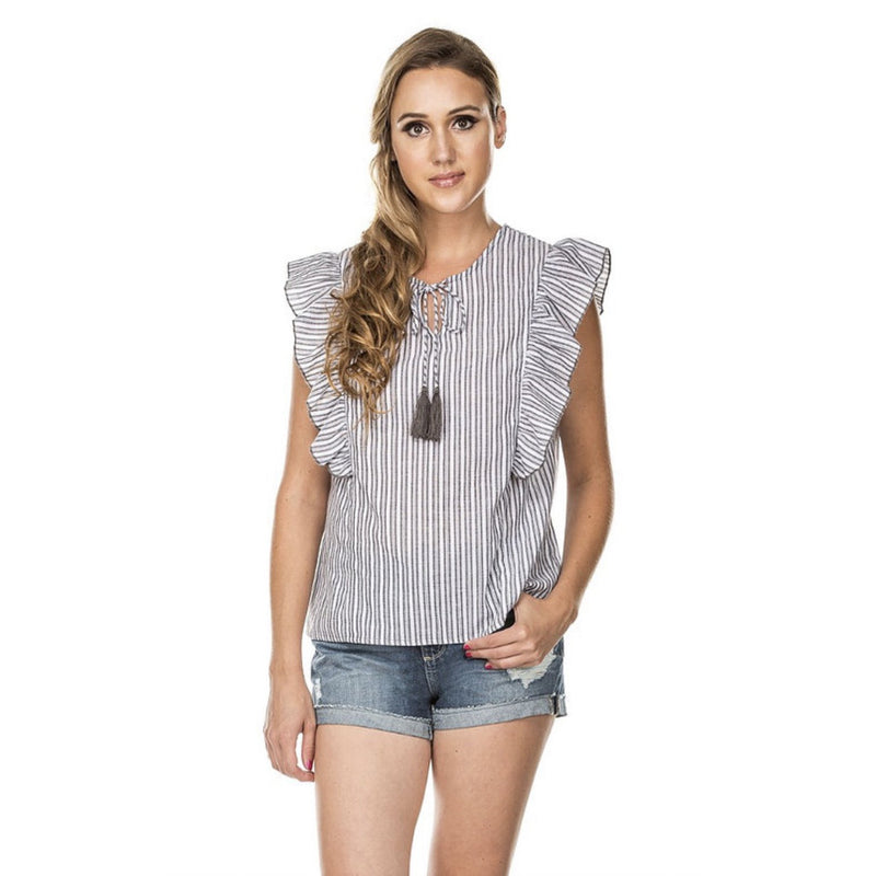 Joy Joy Charcoal Stripe Ruffles Tassel Top