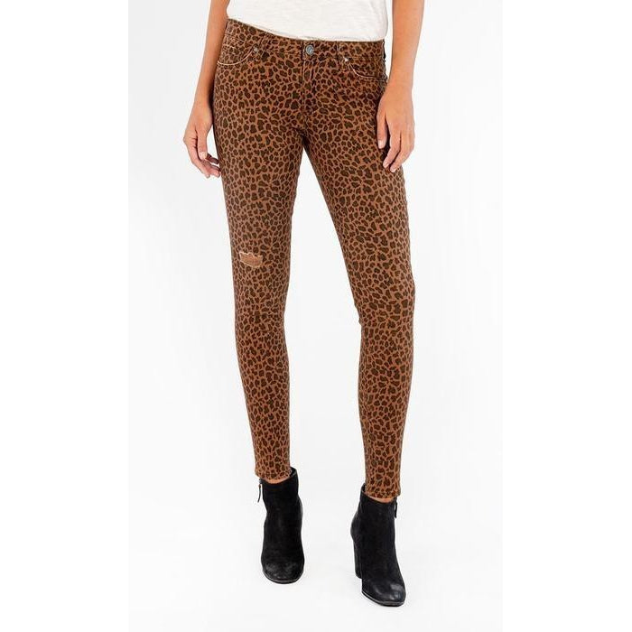 KUT Donna Leopard Print Mid-Rise Ankle Skinny Jeans