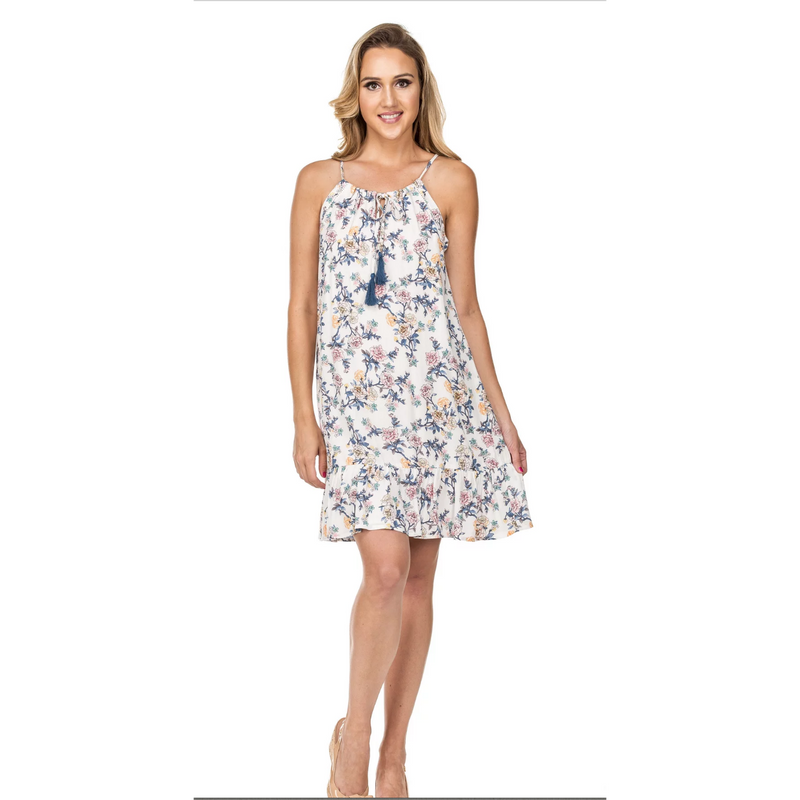 Joy Joy White Roses Halter Dress
