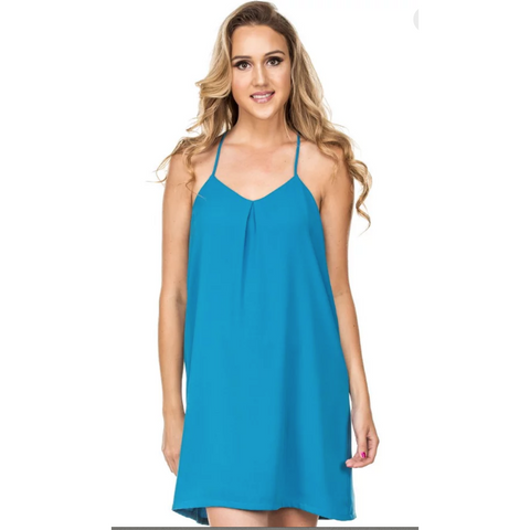 Joy Joy Denim Smock Off Shoulder Dress