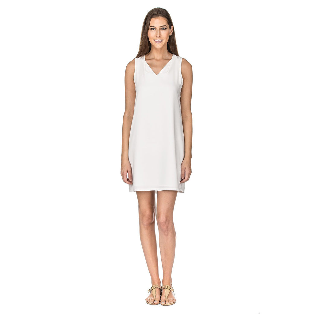 Jade White V Neck Sheath
