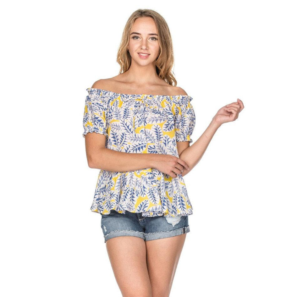 Joy Joy - Blue Leaves Top