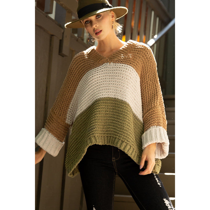 Everlasting Stripe Chenille Sweater-Camel